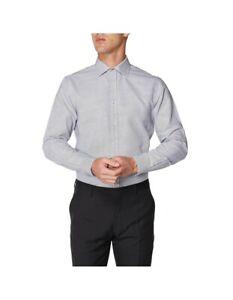 BEN SHERMAN  Size L  Mens Formal Shirt Long Sleeve Workwear Office GREY/BLACK