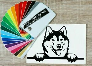 Husky On Board Dog Funny Car Sticker Vinyl Decal Adhesive BLACK Type #2