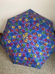 "TOTES Umbrella Adorable Owl Print Colorful Pink Blue 11"" NWOT"
