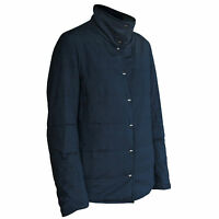 AKRIS PUNTO $1,790 reversible quilted padded puffer jacket navy blue coat 12 NEW