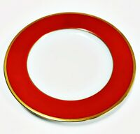 "Haviland Fine China Gold Rim - Brique Dark Red Bread and Butter Plate, 6 1/4"" D"