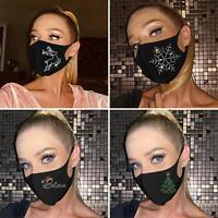 1X Cotton Rhinestone Inlaid Breathable Face Cover Reusable Washable Xmas Decor