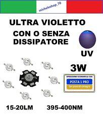 chip led 3W alta luminosità ultra violet UV 395-400NM con o senza dissipatore