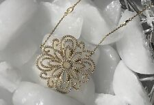 """NEW Women's Sterling Silver 925 16"""" -18"""" Chain CZ Flower Pendant ISABELLA M."""