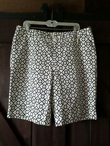 FAIRWAY & GREENE WHITE BLACK GREEN DIAMOND ZIP POCKET COTTON BLEND SHORTS 16