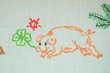 GERMAN SYMBOLS OF CHRISTMAS! VTG GERMAN HAND EMB TABLECLOTH LUCKY PIG + MUSHROOM