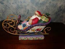 Jim Shore 2004 Christmas Figurine - Delivering Joy- Santa in Sleigh #117719 RARE