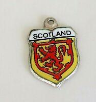 SCOTLAND ~ Vintage Silver Enamel Travel Shield Charm for Bracelet REU