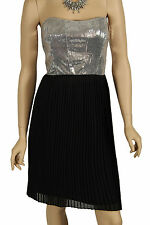 Ladies Black Silver Sequin Evening Party Cocktail Formal Wedding Strapless Dress