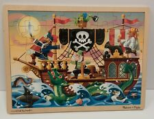 Melissa & Doug 48 PC Wooden JigSaw Puzzle Pirate Adventure Ship kids activity