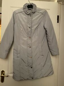 PER UNA M&S Stormwear Grey QUILTED AND WATERPROOF KNEE LENGTH COAT  Size 12 NWOT