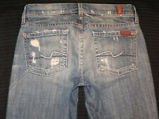 7 For All Mankind Straight Leg Crop Jeans Distressed Slim Skinny Sz 24