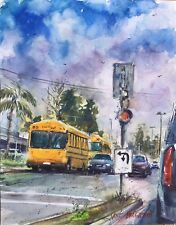 """School Buses Whittier CA Watercolor Original Painting 11"""" x 14""""  NOT A PRINT"""