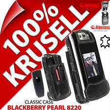Krusell Dynamic Case Black Genuine Leather Cover +Clip for Blackberry Pearl 8220