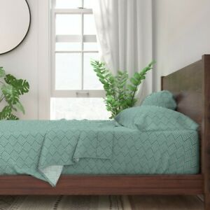 Mod Lines Stripes Green Ivory Emerald 100% Cotton Sateen Sheet Set by Roostery