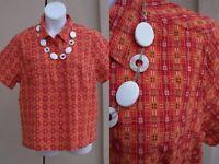 CJ Banks NEW cotton shirt top plus size 1x 16 18 SPRING orange red plaid blouse
