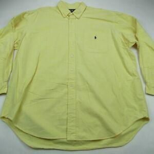 Ralph Lauren Big Shirt Mens Solid Oxford Shirt Yellow 100% Cotton XL Button Down