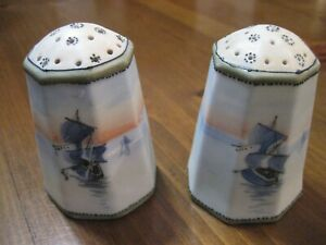 Nippon Salt & Pepper Shakers Sail Boat Water Scene Sunset Green M Wreath Octagon