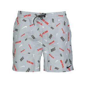 Nike Air All Over Logo Grey Swim Shorts