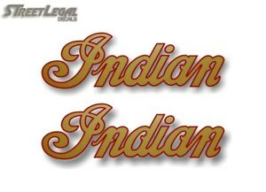 """2 INDIAN SCRIPT Gold w/Red Outline 2""""x 6.5"""" Decals Motorcycle Gas Tank Stickers"""