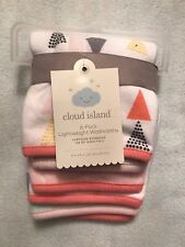 Cloud Island Baby Girl Washcloths 6-Pack Pink White Green