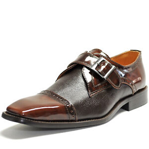 New men's dress shoes formal slip on style real leather wedding work prom brown