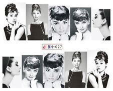 Black & White Audrey Hepburn Full Wrap Water Transfers Nail Art Stickers Decals