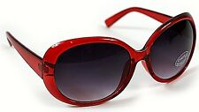 New Ladies Womens Red Large Frame Vintage Retro Oval 80s Sunglasses UV400 Beach