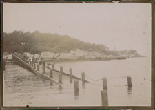 France, Un quai sous l'eau, ca.1900, Vintage citrate print Vintage citrate
