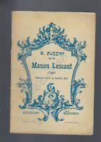 Manon Lescaut G.Puccini Opera Lirica Libretto Ed Ricordi 1930