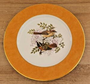 Plate Porcelain Limoges Gold To L'Or End Orange Deco Birds Flower