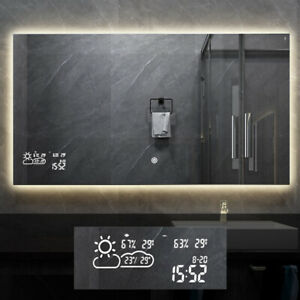 Smart Bathroom Mirror with Dimmable Light Weather Forecast Demist Touch Switch