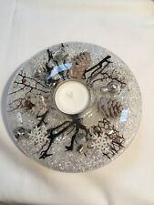 HAND MADE GLASS CANDLE HOLDER WITH FLORAL DESIGN (White Christmas)