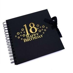 18th Birthday Black Scrapbook, Guest Book Or Photo album With Gold Script