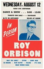 1964 Roy Orbison *Fargo Nd* 11x17 Replica Concert Poster *Only The Lonely*