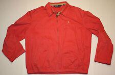 Vintage Mens Polo Ralph Lauren Pink Salmon Cotton Jacket Size Large Beige Pony