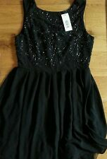 TFNC Black Bead embellished Dress UK size 8 / S