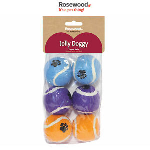 Rosewood Jolly Doggy 6 Pack of Tennis Balls Dog Toy Regular Size Puppy Fetch