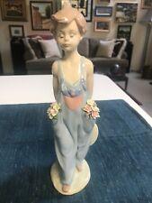 "10 3/8"" Lladro #7650 Pocket Full Of Wishes Boy With Flowers Figurine Glazed Mint"