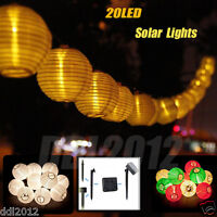 5M 20LED Solar Fabric Lantern Ball Light String Christmas Wedding Party Docor