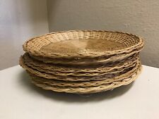 Bamboo Natural Rattan Wicker Paper Plate Holders Camp Bbq Picnic Party Set of 8