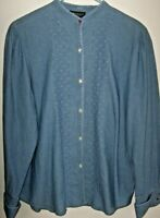 Ralph Lauren Jeans Co. Denim Button Front Shirt Women Sz 16 Pin Tucked Blouse