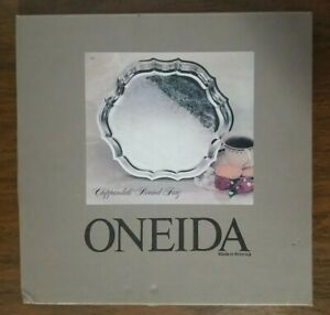 Vintage Oneida Chippendale Round Tray 13 1/4 Inches