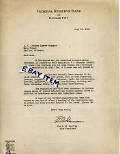 1942 LETTERHEAD E Sherman FEDERAL RESERVE BANK of KANSAS CITY D Woolley MISSOURI
