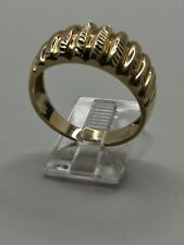 Mens 10k Solid Yellow Gold Diamond Cut Rows Design 10.5mm Wide Ring Size 9.5