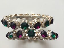 Ladies Mughal WhiteGold Ruby Pink Green Jade Stone Polki Bangle Indian Jewellery