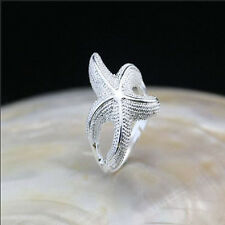 925 Solid Sterling Silver Plated Women/Men Fashion Starfish Ring Gift SIZE OPEN