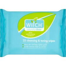 3 X 25 Witch Cleansing & Toning Wipes Naturally Clear Hazel Extract Cleans Skin