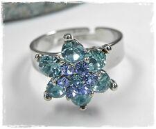 Neu RING mit SWAROVSKI STEINE blau/aquamarine/light saphir/hellblau VERSTELLBAR
