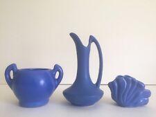 VINTAGE ART DECO 1930'S NILOAK RARE ROYAL BLUE MATTE ART POTTERY COLLECTION OF 3